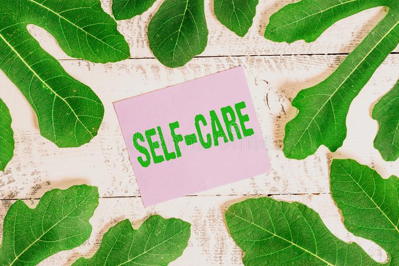 Handwriting text writing Self Care. Concept meaning the practice of taking action to improve one s is own health. Handwriting text writing Self Care. Conceptual royalty free stock photo