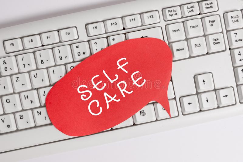 Handwriting text writing Self Care. Concept meaning the practice of taking action to improve one s is own health Empty. Handwriting text writing Self Care royalty free stock image