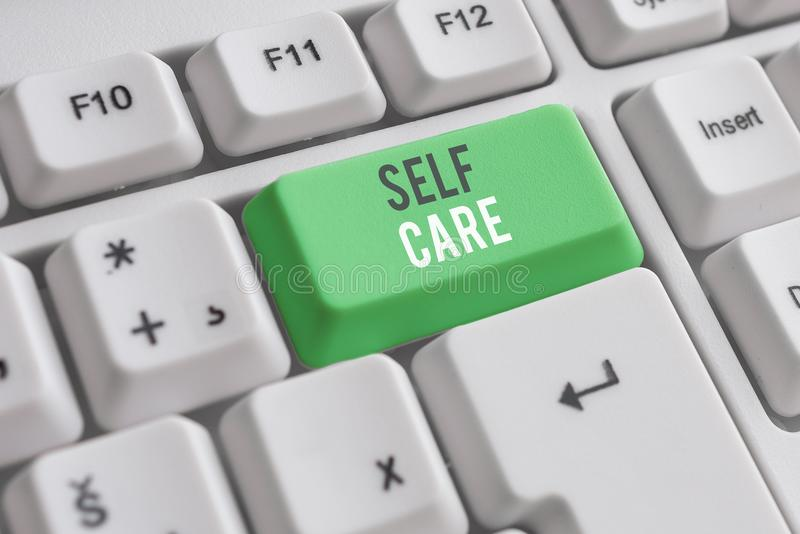 Handwriting text writing Self Care. Concept meaning the practice of taking action to improve one s is own health White. Handwriting text writing Self Care royalty free stock photo