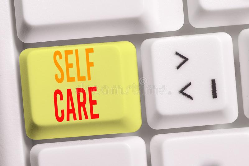 Handwriting text writing Self Care. Concept meaning the practice of taking action to improve one s is own health White. Handwriting text writing Self Care stock photos