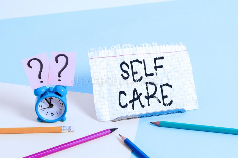 Handwriting text writing Self Care. Concept meaning the practice of taking action to improve one s is own health. Handwriting text writing Self Care. Conceptual stock photography
