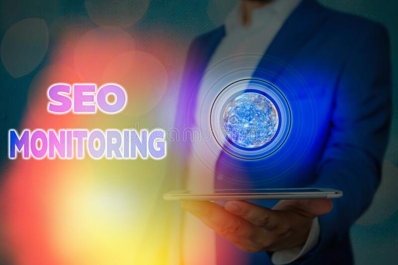 Handwriting text writing Seo Monitoring. Concept meaning Tracking the progress of strategy made in the platform Elements of this. Handwriting text writing Seo royalty free stock photo