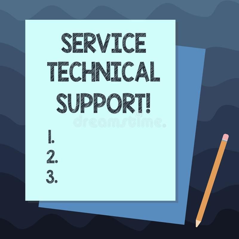 Handwriting text writing Service Technical Support. Concept meaning services that entities provide to users of product Stack of royalty free illustration