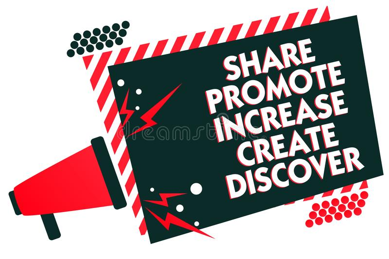Handwriting text writing Share Promote Increase Create Discover. Concept meaning Marketing inspiration motivation Megaphone loudsp stock illustration