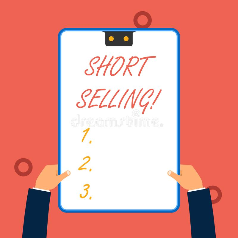 Handwriting text writing Short Selling. Concept meaning Act of selling an asset that you do not currently own. Handwriting text writing Short Selling royalty free illustration