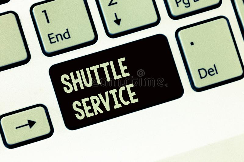 Handwriting text writing Shuttle Service. Concept meaning vehicles like buses travel frequently between two places.  royalty free stock image