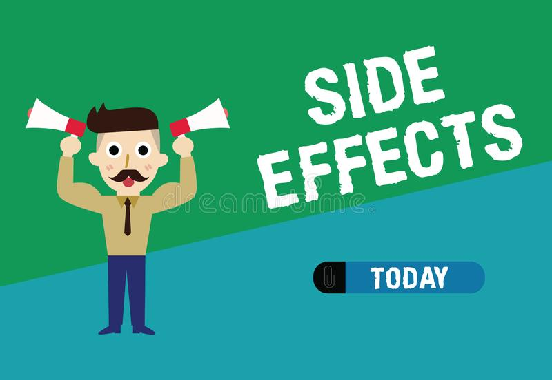 Handwriting text writing Side Effects. Concept meaning An unintended negative reaction to a medicine and treatment.  royalty free illustration