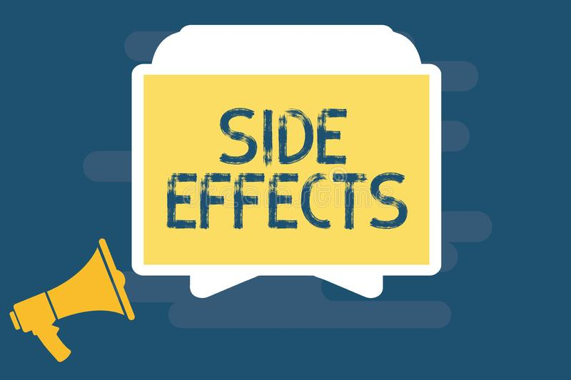 Handwriting text writing Side Effects. Concept meaning An unintended negative reaction to a medicine and treatment.  stock illustration
