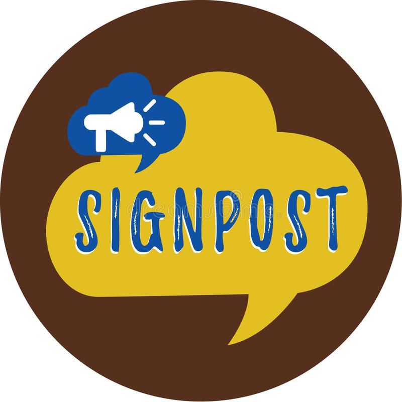 Handwriting text writing Signpost. Concept meaning sign giving information such direction and distance nearby town.  vector illustration