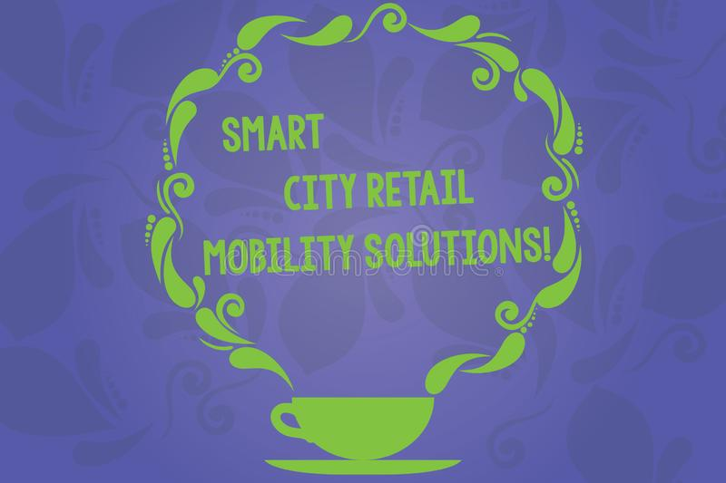 Handwriting text writing Smart City Retail Mobility Solutions. Concept meaning Connected technological modern cities Cup and. Saucer with Paisley Design as stock illustration