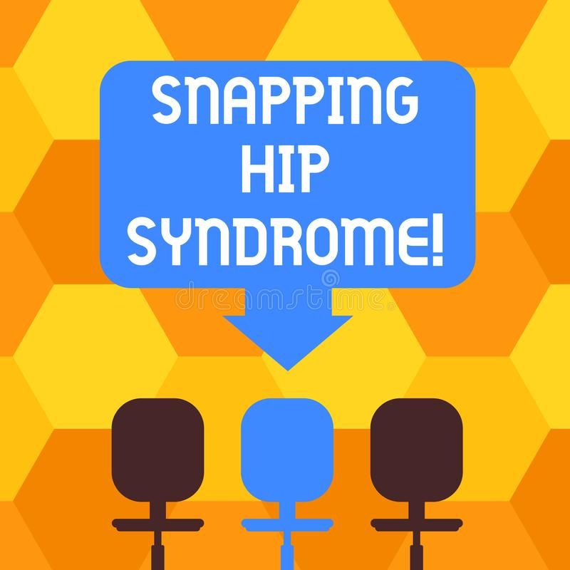 Handwriting text writing Snapping Hip Syndrome. Concept meaning audible snap or click that occurs in or around the hip. Blank Space Color Arrow Pointing to One vector illustration