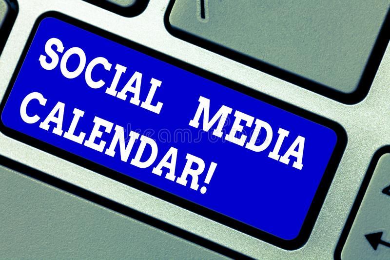 Handwriting text writing Social Media Calendar. Concept meaning apps used to schedule social posts in advance Keyboard. Key Intention to create computer message royalty free stock images