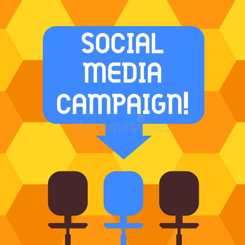 Handwriting text writing Social Media Campaign. Concept meaning Use of social networks to promote brands or services. Blank Space Color Arrow Pointing to One of royalty free illustration