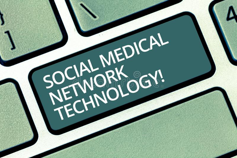 Handwriting text writing Social Medical Network Technology. Concept meaning Online modern networking connection Keyboard royalty free stock photos