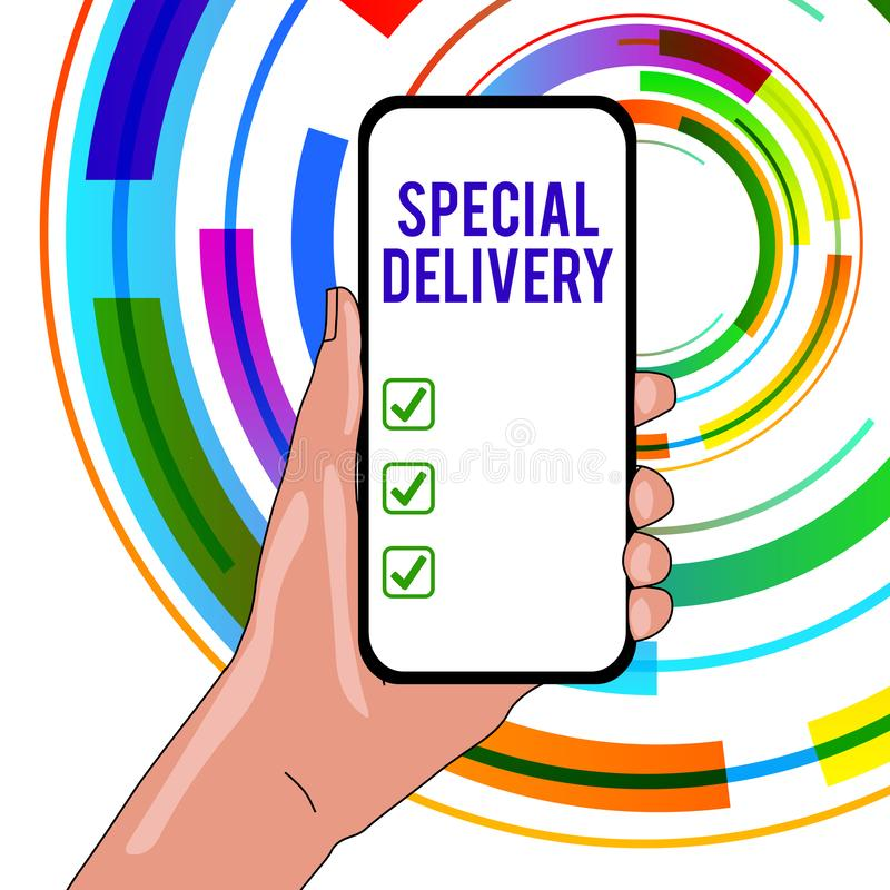 Handwriting text writing Special Delivery. Concept meaning getting products or service directly to your home any place stock illustration