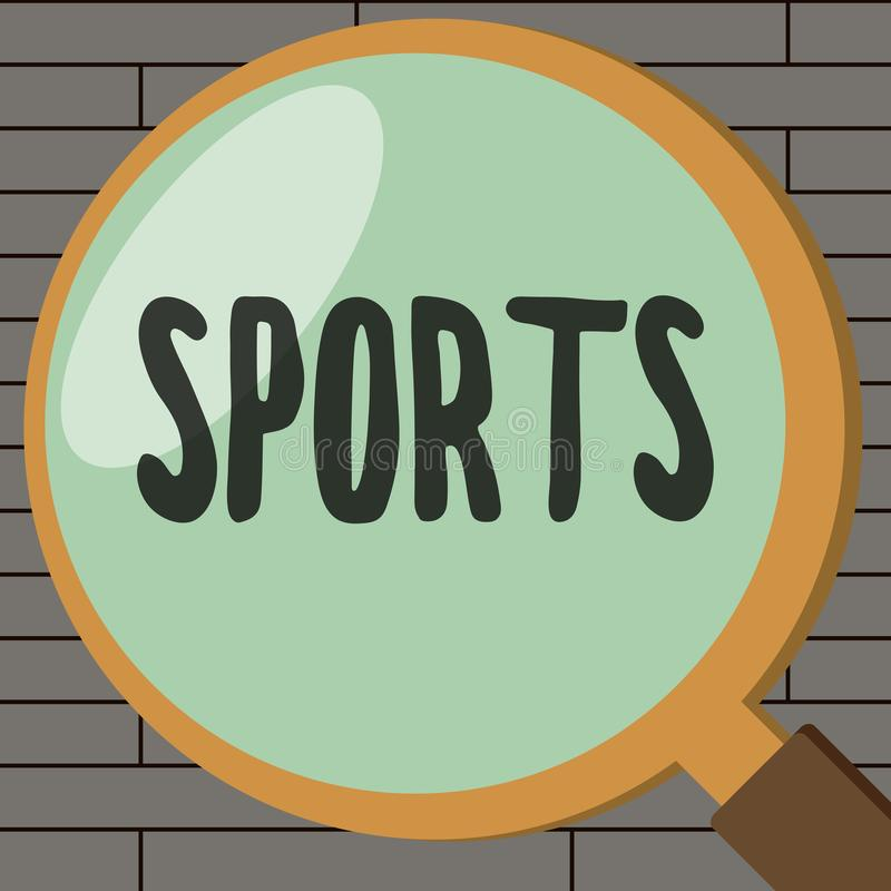 Handwriting text writing Sports. Concept meaning activity physical exertion and skill individual or team competes.  vector illustration