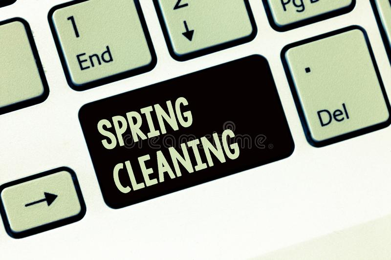 Handwriting text writing Spring Cleaning. Concept meaning practice of thoroughly cleaning house in the springtime.  stock images