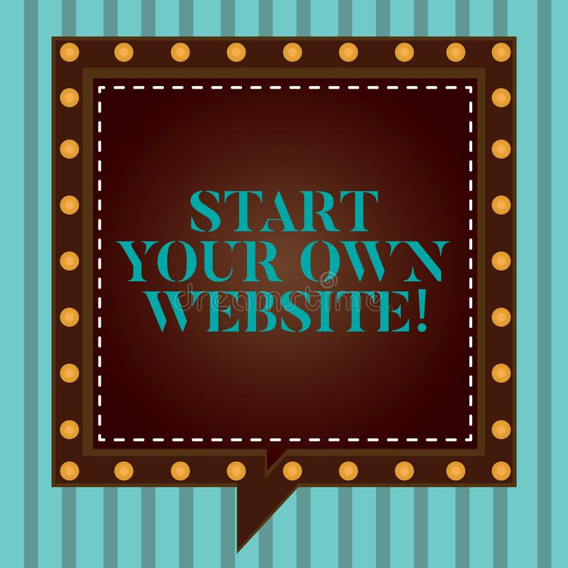 Handwriting text writing Start Your Own Website. Concept meaning Serve as Extension of a Business Card a Personal Site. Square Speech Bubbles Inside Another vector illustration