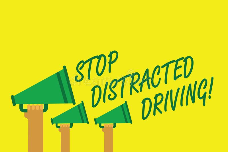Handwriting text writing Stop Distracted Driving. Concept meaning asking to be careful behind wheel drive slowly Hands holding meg vector illustration