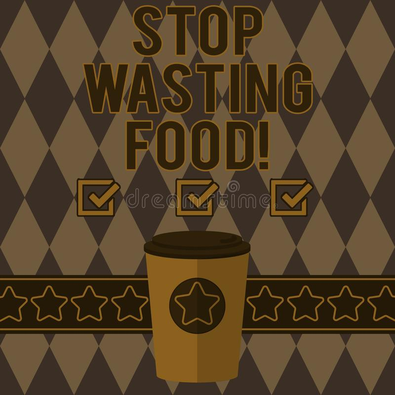 Handwriting text writing Stop Wasting Food. Concept meaning organization works for reduction food waste in society 3D royalty free illustration