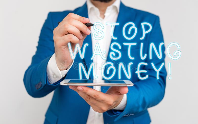 Handwriting text writing Stop Wasting Money. Concept meaning advicing demonstrating or group to start saving and use it. Handwriting text writing Stop Wasting royalty free stock image