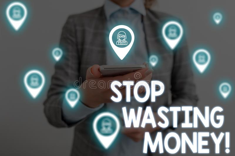 Handwriting text writing Stop Wasting Money. Concept meaning advicing demonstrating or group to start saving and use it. Handwriting text writing Stop Wasting stock image