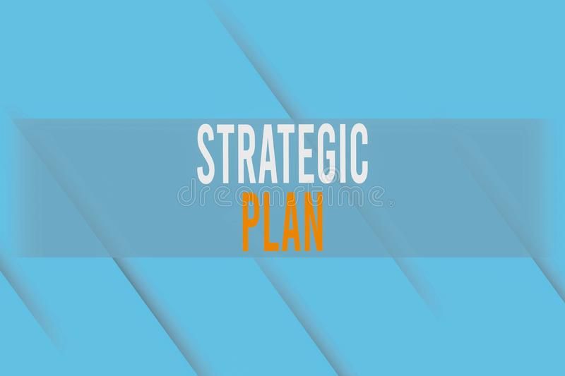 Handwriting text writing Strategic Plan. Concept meaning a systematic process of envisioning a desired future Repetition. Handwriting text writing Strategic Plan stock illustration