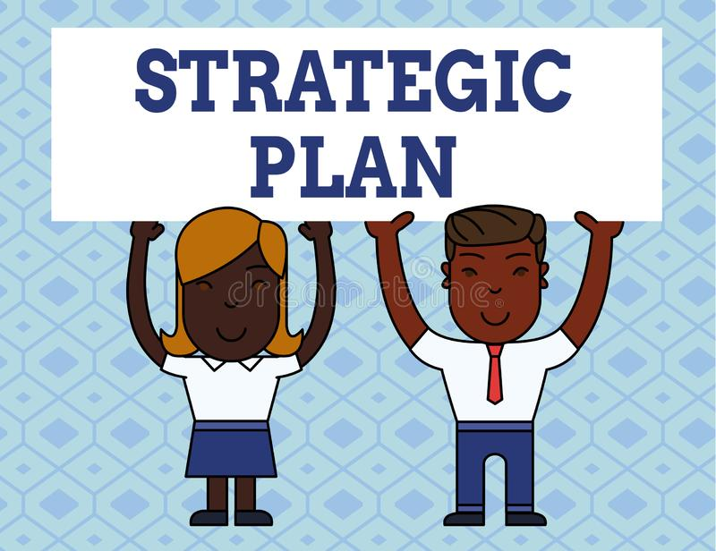 Handwriting text writing Strategic Plan. Concept meaning a systematic process of envisioning a desired future Two. Handwriting text writing Strategic Plan royalty free illustration