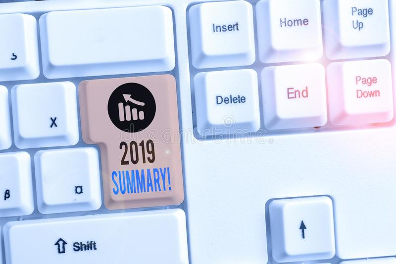 Handwriting text writing 2019 Summary. Concept meaning summarizing past year events main actions or good shows White pc keyboard. Handwriting text writing 2019 stock photos