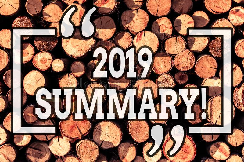 Handwriting text writing 2019 Summary. Concept meaning summarizing past year events main actions or good shows Wooden. Handwriting text writing 2019 Summary royalty free stock photography