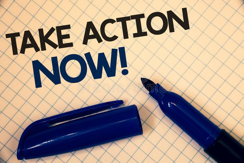 Handwriting text writing Take Action Now Motivational Call. Concept meaning Urgent Move Start Promptly Immediate Begin Text two Wo royalty free illustration