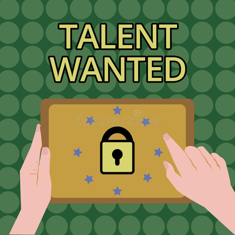 Handwriting text writing Talent Wanted. Concept meaning Hiring for specific skills Need of job position Vacancy.  royalty free illustration