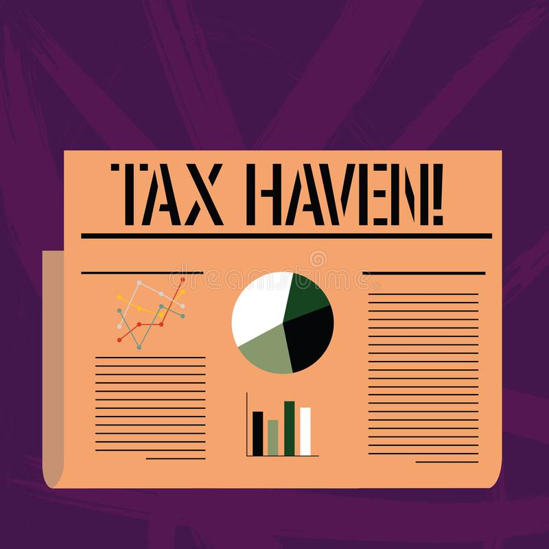 Handwriting text writing Tax Haven. Concept meaning country or independent area where taxes are levied at low rate. Handwriting text writing Tax Haven vector illustration