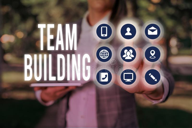 Handwriting text writing Team Building. Concept meaning various types of activities used to enhance social relations. Handwriting text writing Team Building royalty free stock photos