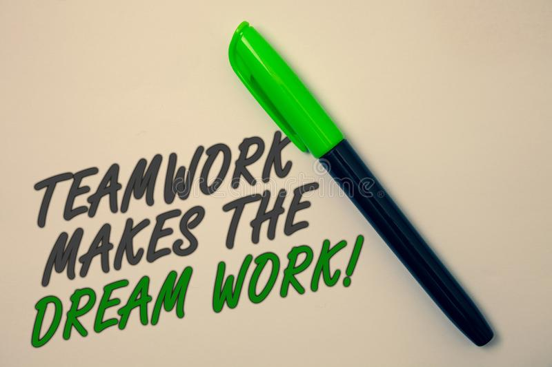 Handwriting text writing Teamwork Makes The Dream Work Call. Concept meaning Camaraderie helps achieve success Ideas message beige. Background green pen pens royalty free stock images