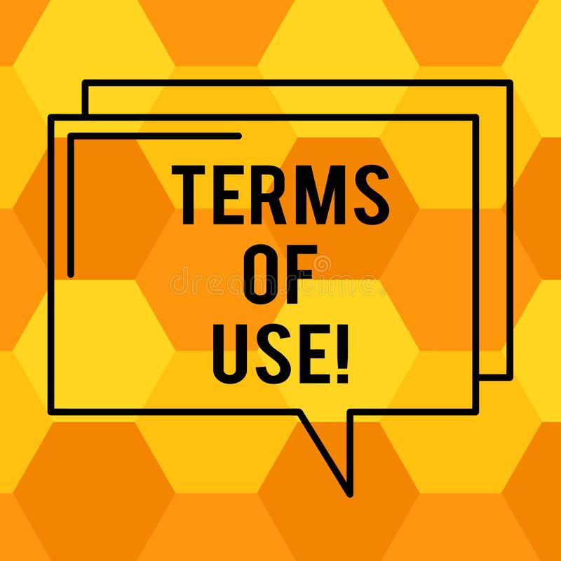Handwriting text writing Terms Of Use. Concept meaning Established conditions for using something Policies Agreements Rectangular. Outline Transparent Comic stock illustration