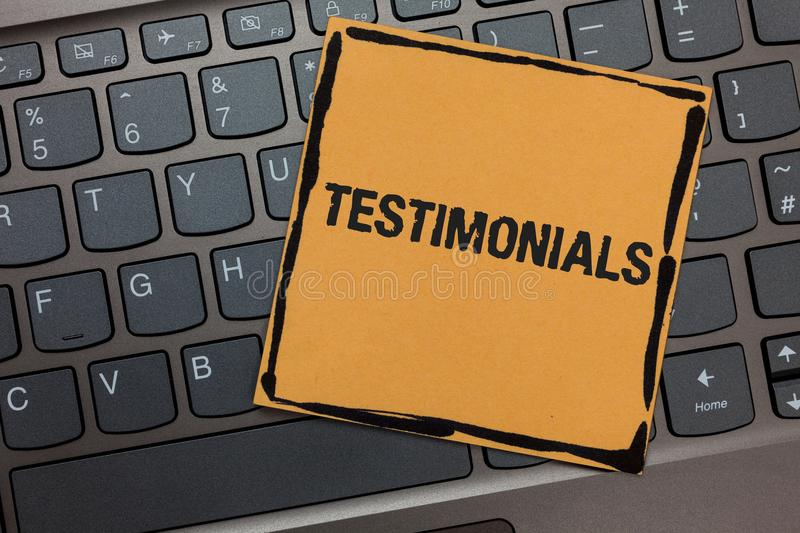 Handwriting text writing Testimonials. Concept meaning Customers formal endorsement statement experience of someone Black laptop k. Eyboard art paper computer stock images