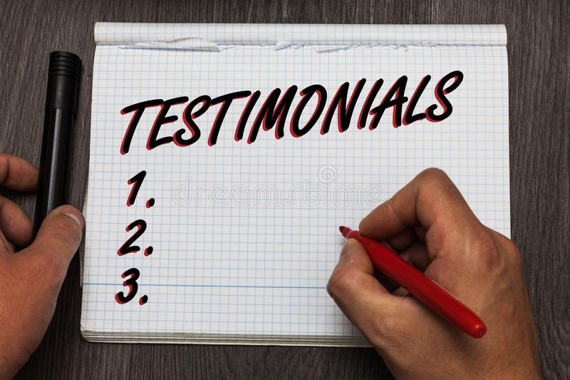 Handwriting text writing Testimonials. Concept meaning Customers formal endorsement statement experience of someone Graph paper th. Oughts ideas important marker royalty free stock image