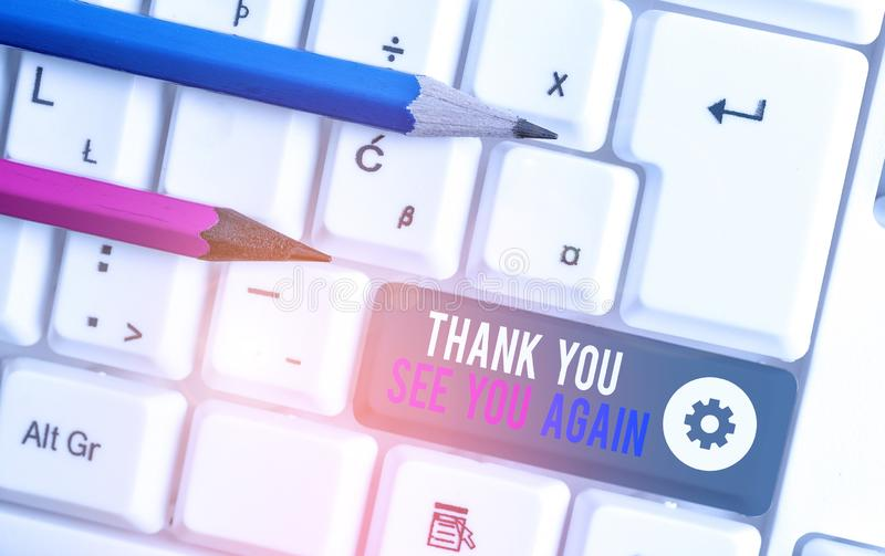 Handwriting text writing Thank You See You Again. Concept meaning Appreciation Gratitude Thanks I will be back soon. Handwriting text writing Thank You See You royalty free stock images