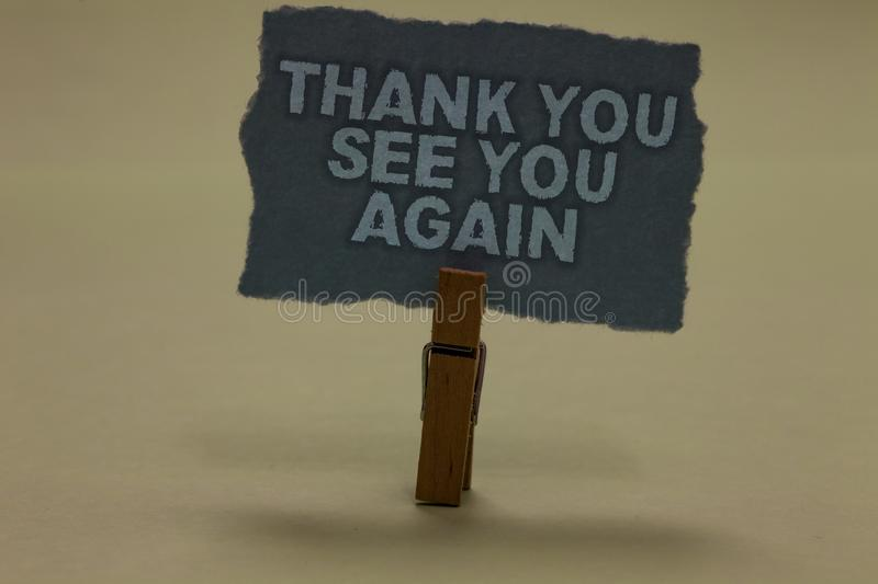 Handwriting text writing Thank You See You Again. Concept meaning Appreciation Gratitude Thanks I will be back soon Paperclip reta. In ash color written torn royalty free stock photo