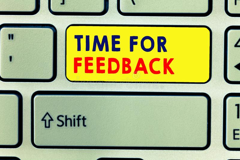 Handwriting text writing Time For Feedback. Concept meaning Need to response or give critic on something Evaluation.  stock photo