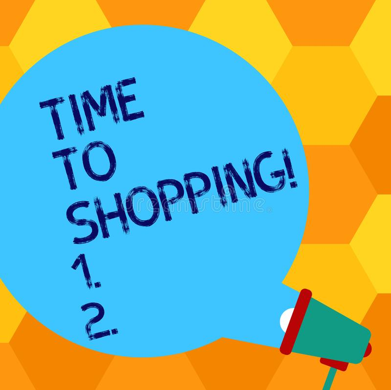 Handwriting text writing Time To Shopping. Concept meaning Moment for purchasing new products on shops Sales Blank Round. Handwriting text writing Time To vector illustration