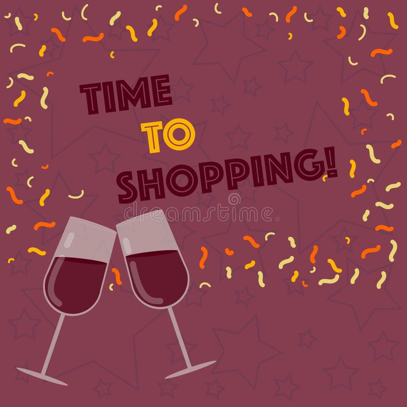 Handwriting text writing Time To Shopping. Concept meaning Moment for purchasing new products on shops Sales Filled Wine. Handwriting text writing Time To royalty free illustration
