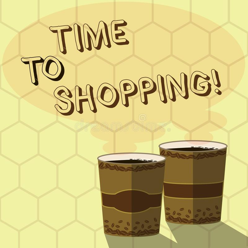 Handwriting text writing Time To Shopping. Concept meaning Moment for purchasing new products on shops Sales Two To Go. Handwriting text writing Time To Shopping stock illustration