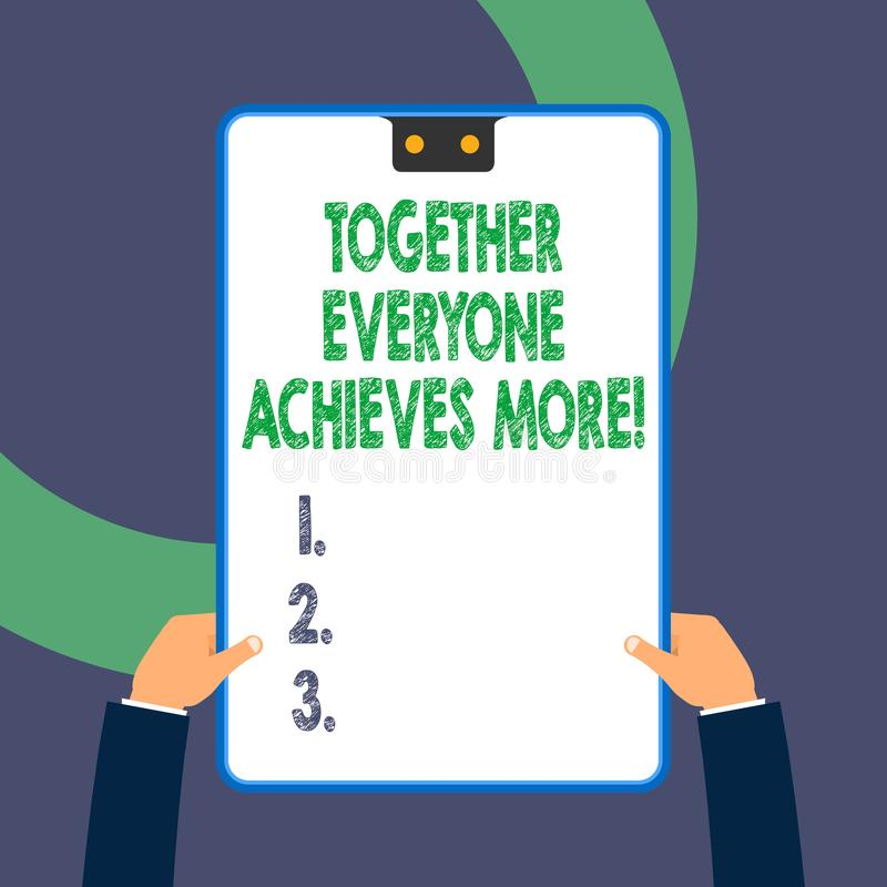 Handwriting text writing Together Everyone Achieves More. Concept meaning Members create synergy with strong sense. Handwriting text writing Together Everyone vector illustration