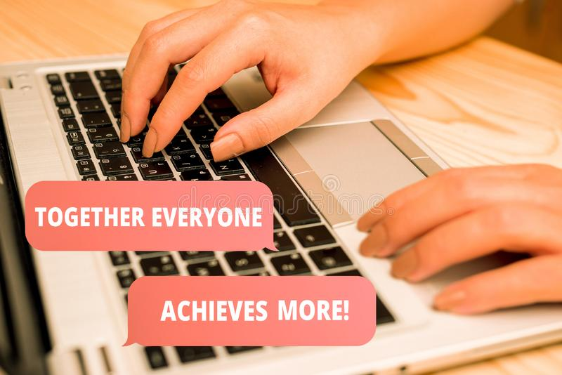 Handwriting text writing Together Everyone Achieves More. Concept meaning Members create synergy with strong sense. Handwriting text writing Together Everyone royalty free illustration