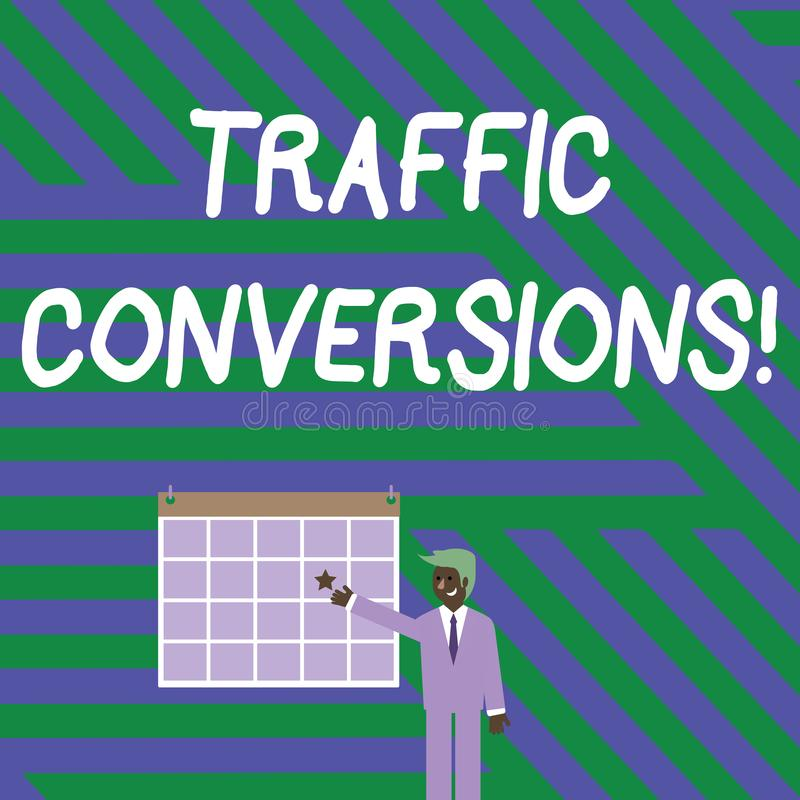 Handwriting text writing Traffic Conversions. Concept meaning visitor who has been converted into a client or customer. Handwriting text writing Traffic royalty free illustration