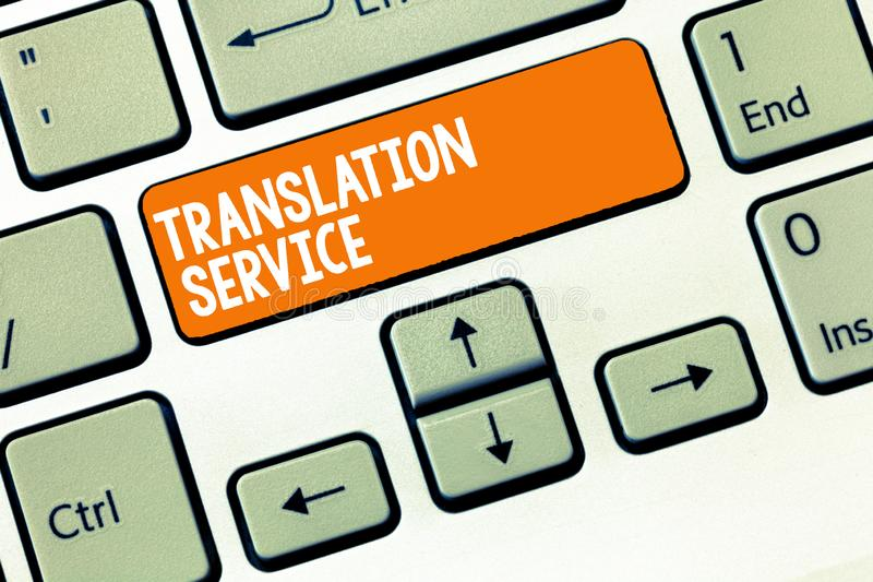 Handwriting text writing Translation Service. Concept meaning the Equivalent Target Language from the Mother Tongue.  stock image