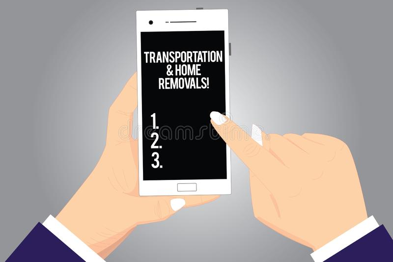Handwriting text writing Transportation And Home Removals. Concept meaning Moving shipping packages new house Hu analysis Hands stock images
