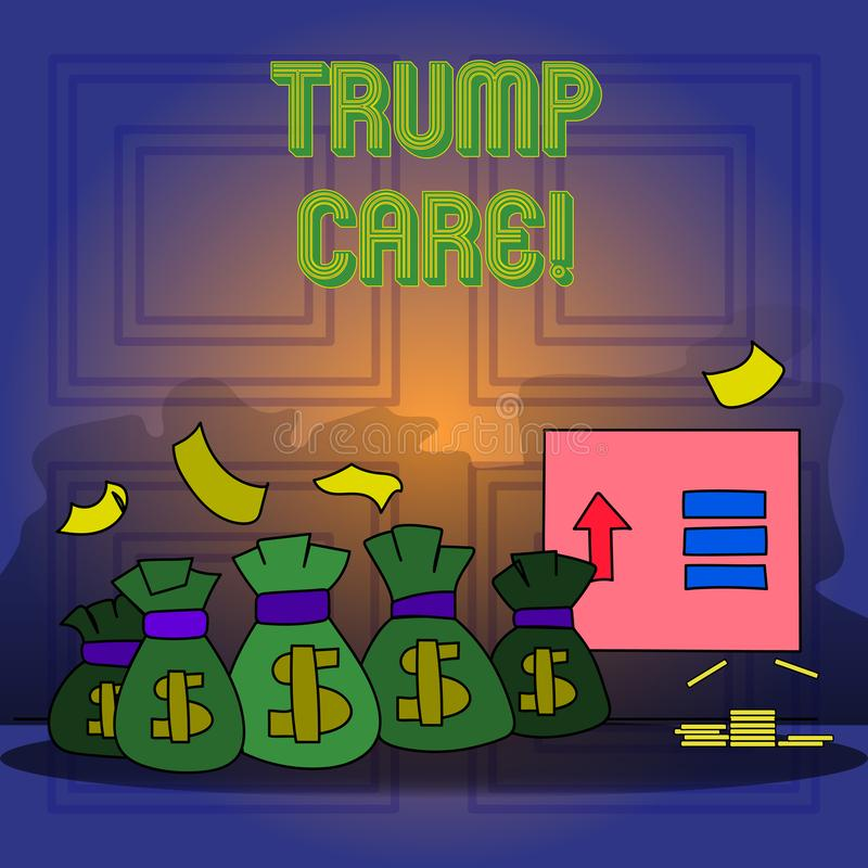 Handwriting text writing Trump Care. Concept meaning refers to replacement for Affordable Care Act in united states. Handwriting text writing Trump Care vector illustration